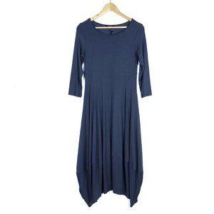 Comfy USA Fig Gray 3/4 Sleeve Midi Kati Dress